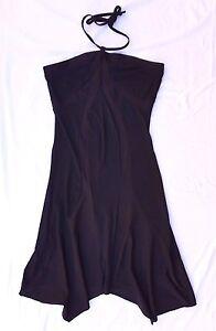 EX CON Miss Shop Sz 12 Dress Black Halter Handkerchief Hem Party 90's Grunge