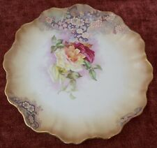 Antique Royal Doulton Burslem Decorative Plate Floral Rose Moriage Gold Cabinet