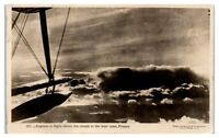RPPC WWI Biplane? Flight View above the Clouds in France Postcard
