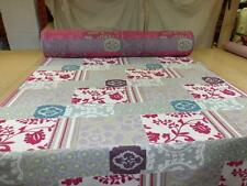 PATCHWORK CHENILLE UPHOLSTERY FABRIC - Grey with Pink & Teal & Purple