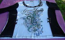 T-Shirts:Damen Kurzarm Shirt in blau-weiß, Marine-Stil mit Bilddruck, Größe XL