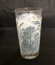 12oz Glassware Tumbler Currier and Ives Blue by ROYAL (USA) HTF
