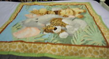 """JUNGLE BABIES BABY QUILT ON BACK 45"""" BY 36"""" HANDMADE QUILTED IN JUNGLE MONKEY"""