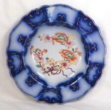 Chamberlain Flow Blue Soup Bowl Royal Worcester Flowers Gold Scrolls Antique