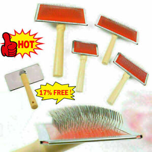 Dog Cat Puppy Hair Shedding Grooming Wooden Slicker Trimmer Br Fur Comb