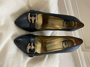 roberto Cavalli womens Shoes. Black leather, gold logo .