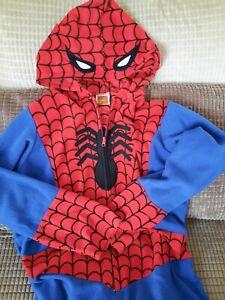 Spiderman Adult Fleece Body Suit One Piece Costume Size Large Marvel