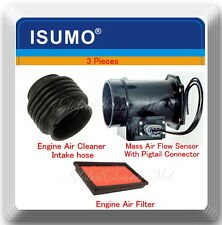 3 Pc Mass Air Flow Sensor W/Connector,Intake Air Hose  & Filter For I30 Maxima