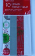 ONE Pack of 10 Sheets Christmas Gift Wrap Tissue Paper Red White Silver,Bauble