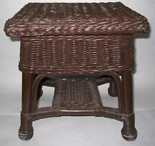 VINTAGE WICKER Small Table or FOOT STOOL or TABLE Needs T.L.C. 40'S?