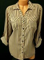 Elementz beige black striped 3/4 sleeve front pockets buttoned down sheer top 1X