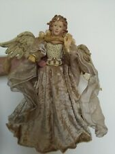 """Christmas Angel Tree Topper/Ornament 17"""" H Blue Eyes, Gold Gown & White Pearls"""