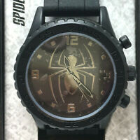 Spiderman Marvel Comics Black Silver Face Analog Watch With Collectible Tin NEW