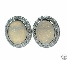 Solid 925 Sterling Silver Oval Soft Grey Druzy Stud Earrings '