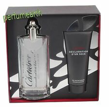 Declaration D'un Soir by Cartier 2 Pces Set 3.3/3.4 oz.Edt Spray+3.4 oz S/G New