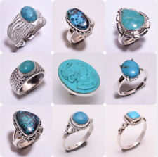 925 Sterling Silver Ring SIZE US 8, Natural Turquoise Handcrafted Jewelry CR34