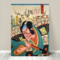 "Japanese Kabuki Art CANVAS PRINT 24x18"" Ichikawa Danjuro Kunichika #197"
