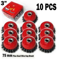 10 PCS  3 inch Knot Brush Cup Steel Wire Wheel Grinder Tool Accessory Abrasive