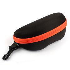 Portable Zip Hard Case Box Eyeglass Carabiner Travel Holder Protecter Orange q
