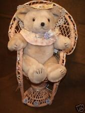 "WANGS JOINTED BEAR=10x7x5"" & STURDY WICKER-HIGHBACK CHAIR=17x10x6""/DOLL DISPLAY"