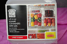 Rubbermaid 8-Quart 2-Pack Industrial Cold Storage Square Containers w/Lids S4899