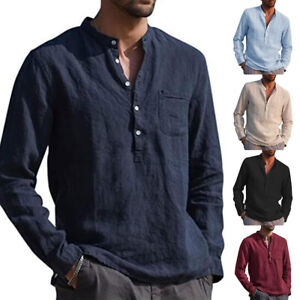 New Men Casual Cotton Linen Shirts Tops Long Sleeve V Neck Loose Tee Blouse.