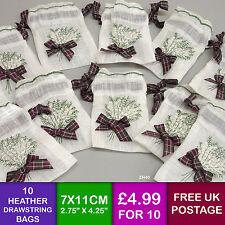 10 Scottish Tartan Heather Embroidered Linen Look Drawstring Gift Bags Burgundy