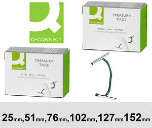 Treasury Tags Metal Ended Various Sizes 25mm 51mm 76mm 102mm 127mm 152mm