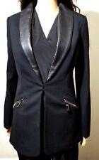 NWT FAITH CONNEXION Black Blazer Suit Jacket ( GENUINE LEATHER DETAILS)  Size M