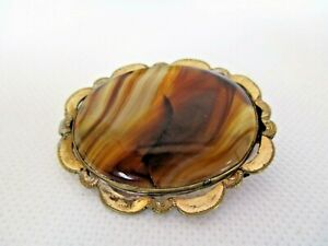 ❤️Beautiful Antique Pinchbeck Agate Stone Metal Brooch Cracked❤️
