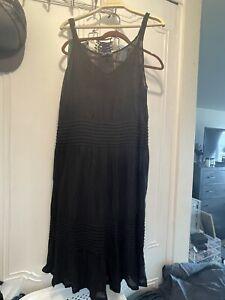 Eileen Fisher Black Surplice Pleat Fit Flare Long Dress Size 1X