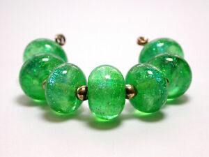 VictoriaGail Lampworked Beads- Teal Green Sm