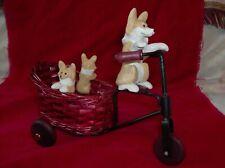 Ooak Pembroke Welsh Corgi Dog on Bike w Pups Figurine Handmade Corgis
