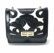 Balmain Ultimate Mini Embossed Leather Shoulder Bag in Black & White