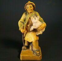 GERMAN WOOD CARVED MAN WITH PIG FIGURINE TRAVELER HAND CARVED OBERAMMERGAU