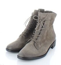 A20 NEW Women's Sz 7.5 UK 10 US Paul Green Suede Lace Up/Zip Boots In Taupe