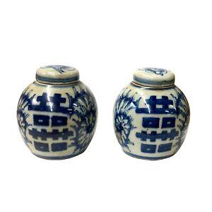 Pair Blue White Mini Oriental Graphic Porcelain Ginger Jars ws946