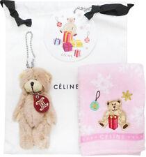 Celine Japan Mascot Holder Bear Logo Charm Drawstring Bag Handkerchief Towel Set