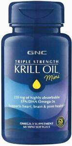 GNC Triple Strength Krill Oil Mini, 60 Softgels, for Join, Skin, Eye, and...