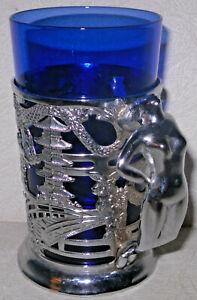 VTG Chrome Art Deco Nude Lady Handle Oriental Cup Mug Holder w/Cobalt Blue Glass
