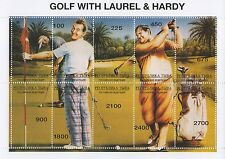 """GOLF WITH LAUREL AND HARDY HOLLYWOOD LEGENDS 5"""" x 7"""" MNH STAMP SHEETLET"""