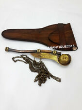 Nautical 5'' Whistle Antique Brass With Leather Box
