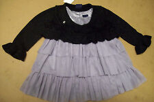 BABY GAP 2PC DRESS OUTFIT - SILVER TIER RUFFLED DRESS + BLACK METALLIC RUFFLE SW