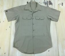US MARINES - Vtg WWII Korea Khaki Short Sleeve Service C Charlie Shirt, MEDIUM
