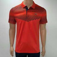 Lacoste Mens Sport Stripes Ultra Dry Tennis Polo XS Fr 2 Orange Navy Blue