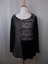 Style & Co Petite Patchwork Velvet Metallic Top Black Gold Long Sleeve PM #2471