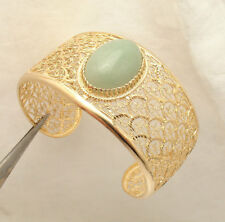 Technibond Green Jade Gemstone Cuff Bangle Bracelet 14K Yellow Gold Clad Silver
