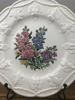 Wedgwood Etruria England Dinner Plate Floral Embossed With Floral Edge Set Of 2