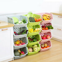Stackable Single-deck Fruit Vegetable Storage Box Kitchen Organizer Basket Atom