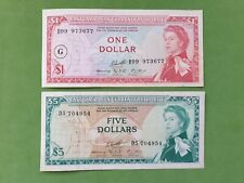 Banknotes from East Caribbean 1 & 5 dollars 1965